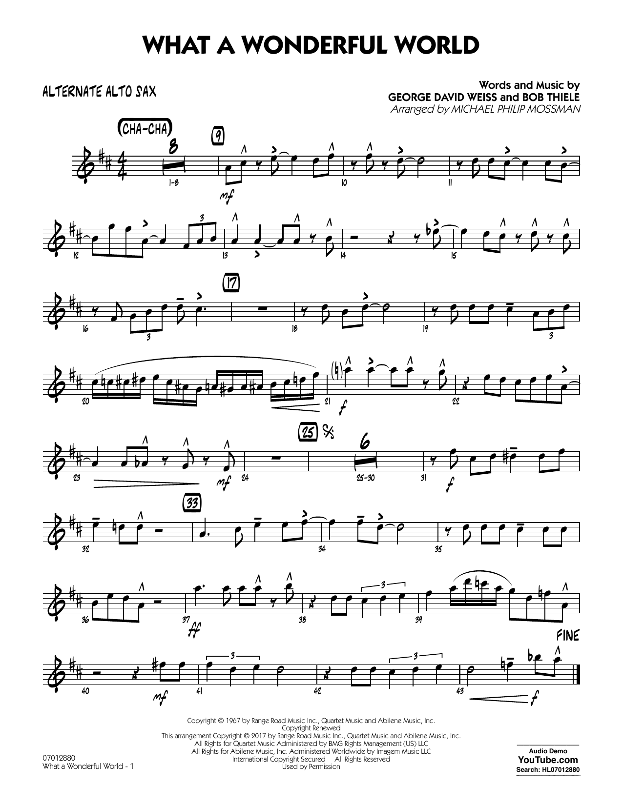 Michael Philip Mossman What A Wonderful World Dl - Alternate Alto Sax sheet music preview music notes and score for Jazz Ensemble including 2 page(s)