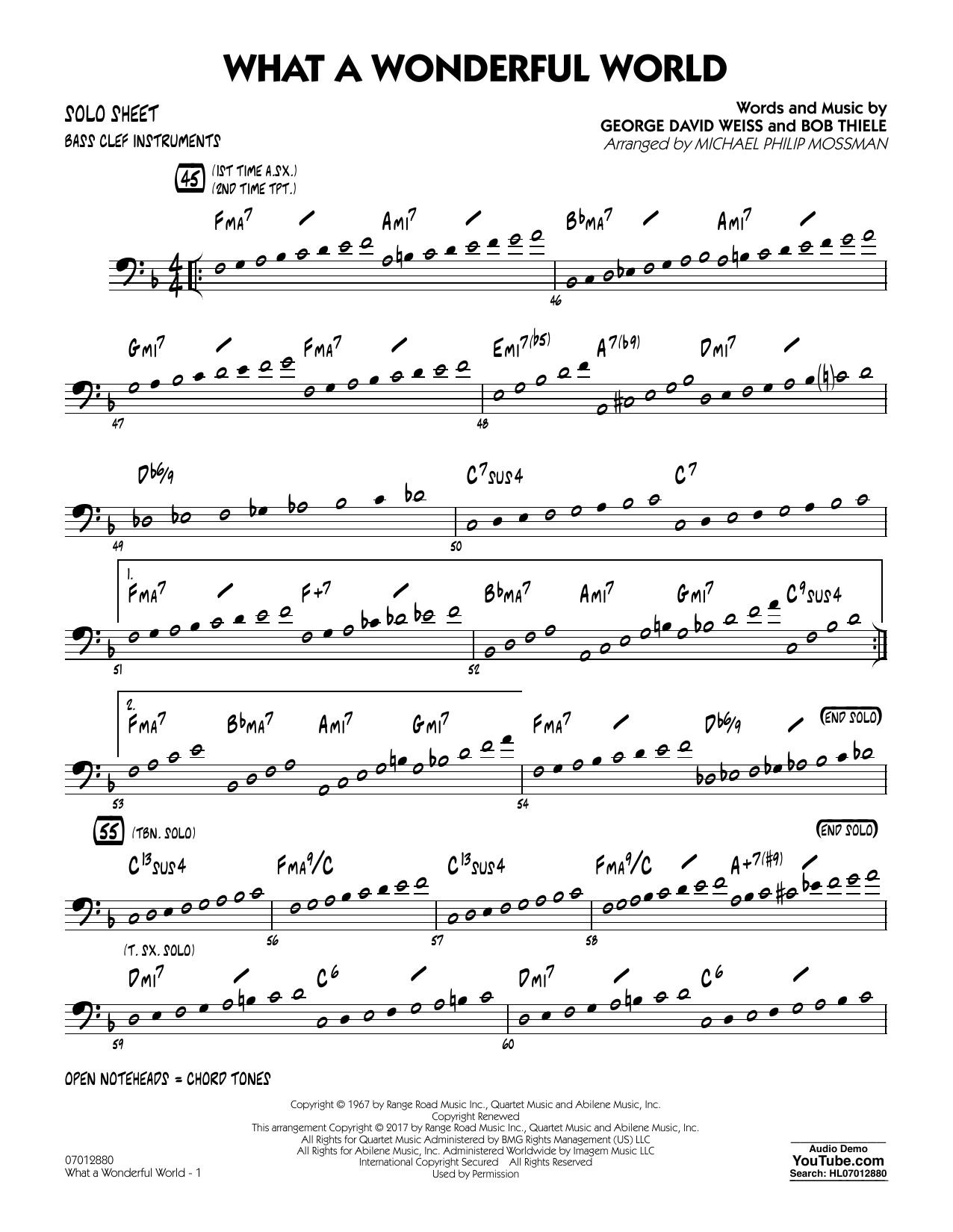 Michael Philip Mossman What A Wonderful World Dl - Bass Clef Solo Sheet sheet music preview music notes and score for Jazz Ensemble including 2 page(s)