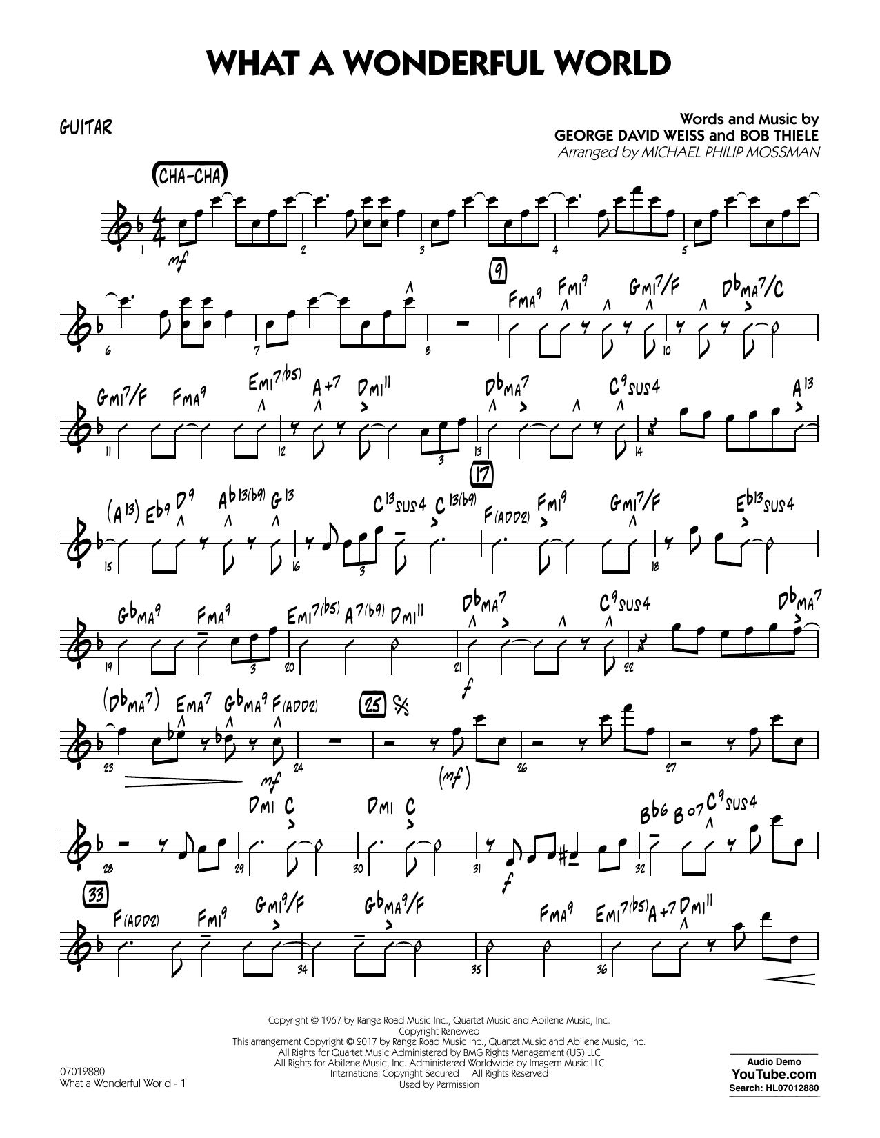 Michael Philip Mossman What A Wonderful World Dl - Guitar sheet music preview music notes and score for Jazz Ensemble including 2 page(s)