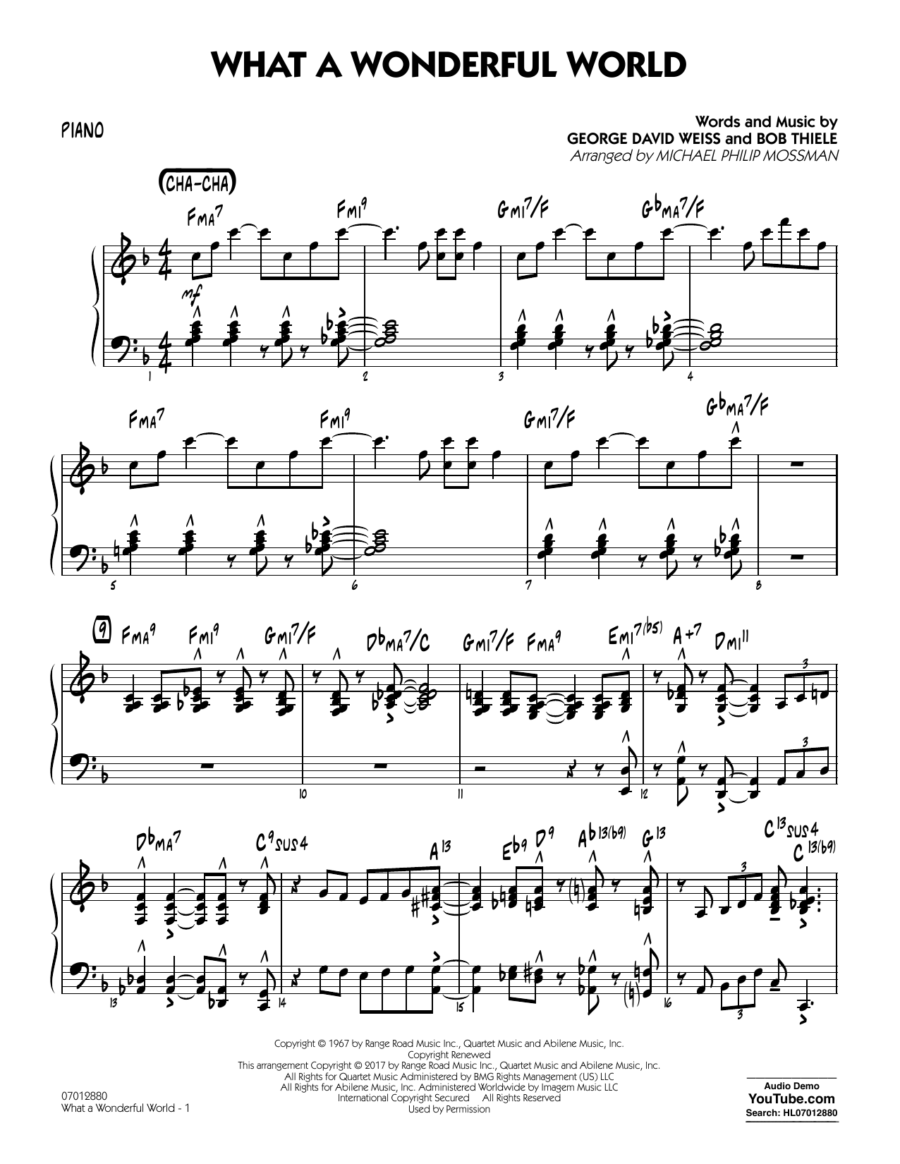 Michael Philip Mossman What A Wonderful World Dl - Piano sheet music preview music notes and score for Jazz Ensemble including 4 page(s)
