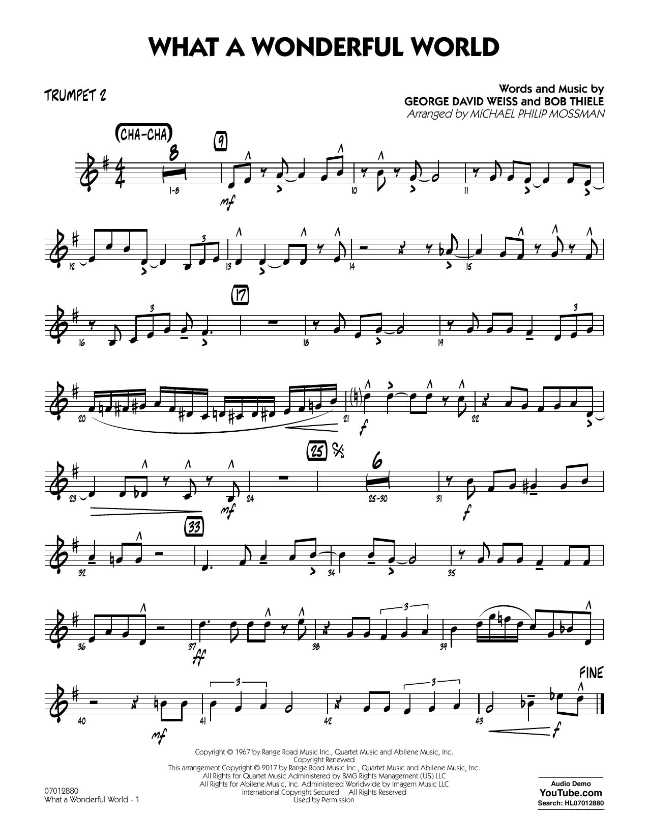 Michael Philip Mossman What A Wonderful World Dl - Trumpet 2 sheet music preview music notes and score for Jazz Ensemble including 2 page(s)