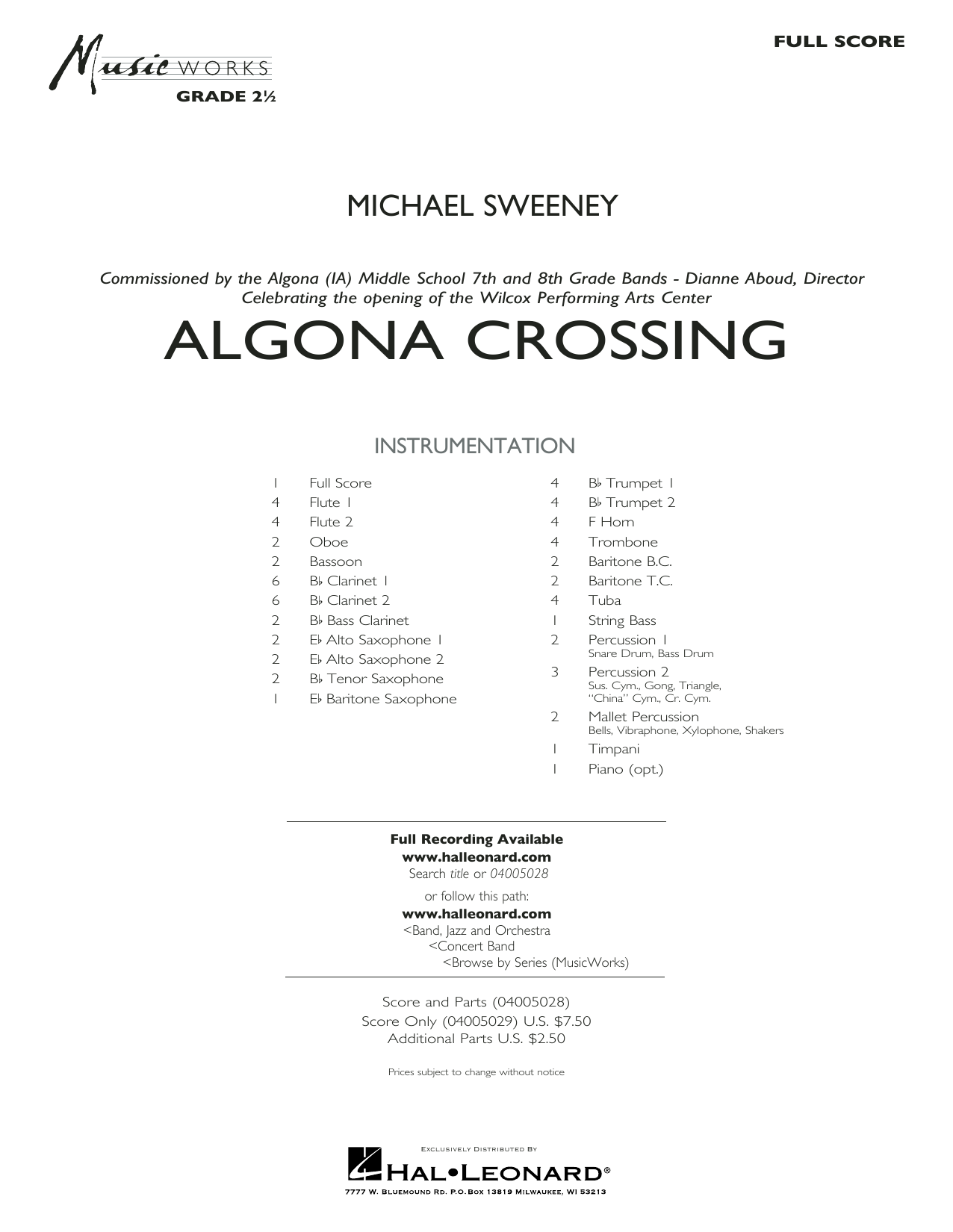Michael Sweeney Algona Crossing - Full Score sheet music preview music notes and score for Concert Band including 31 page(s)