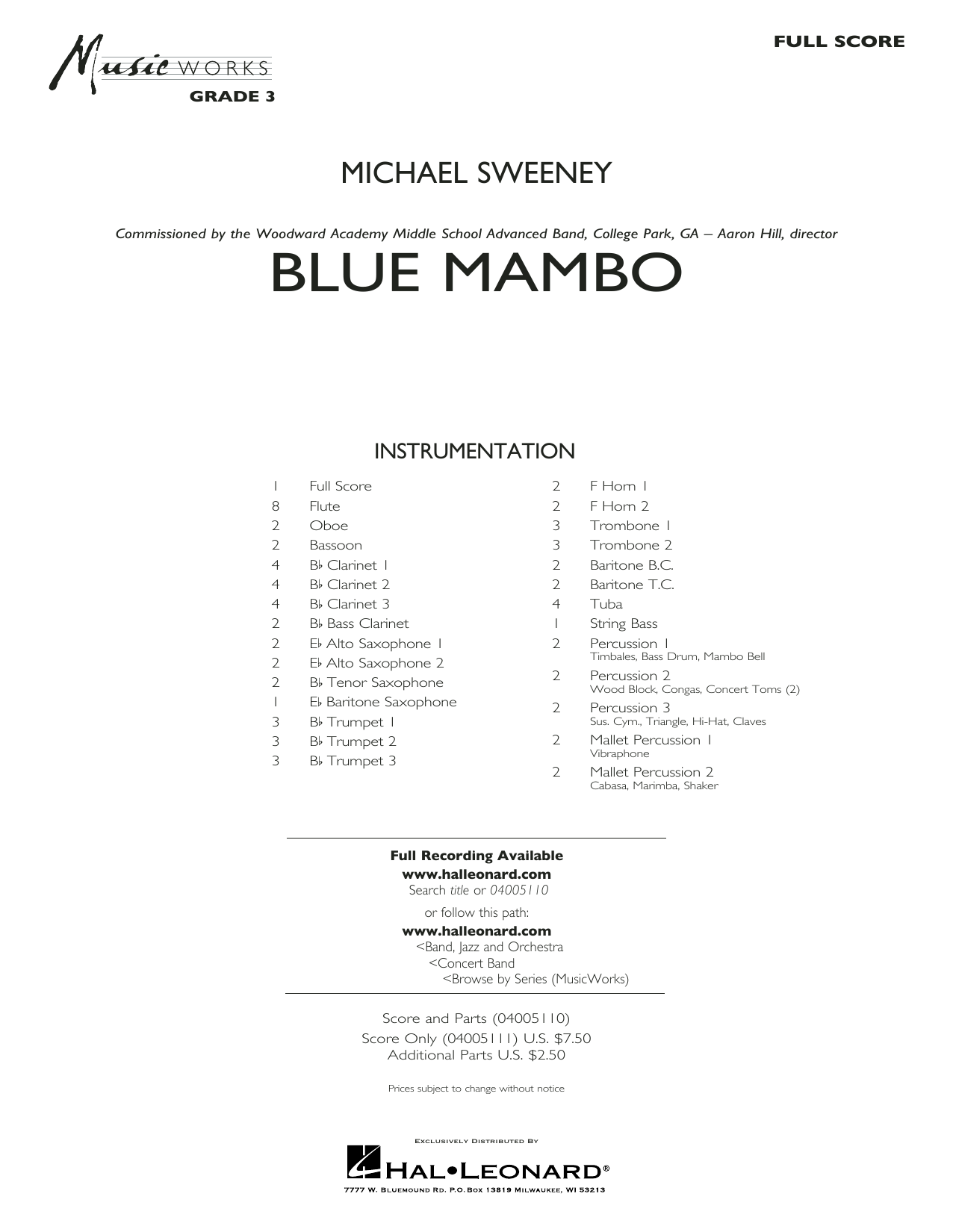 Michael Sweeney Blue Mambo - Conductor Score (Full Score) sheet music preview music notes and score for Concert Band including 28 page(s)