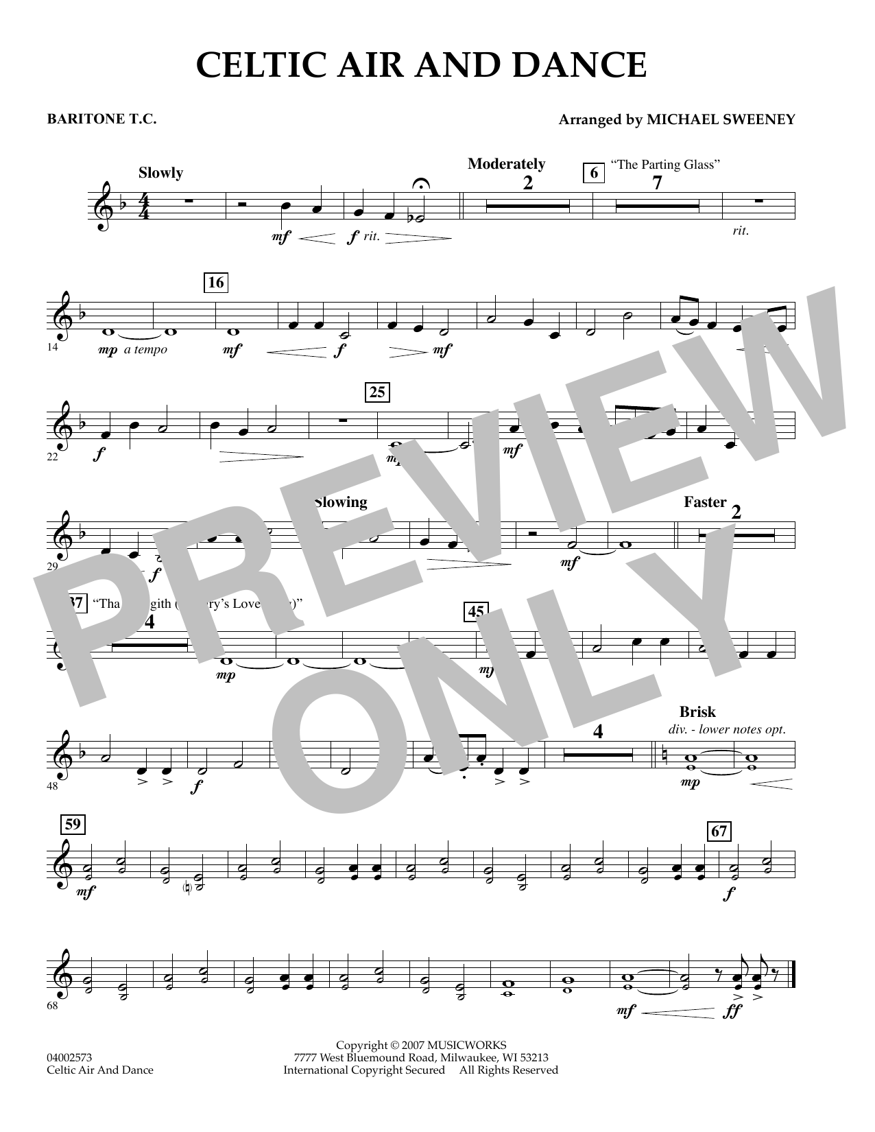 Michael Sweeney Celtic Air and Dance - Baritone T.C. sheet music preview music notes and score for Concert Band including 1 page(s)