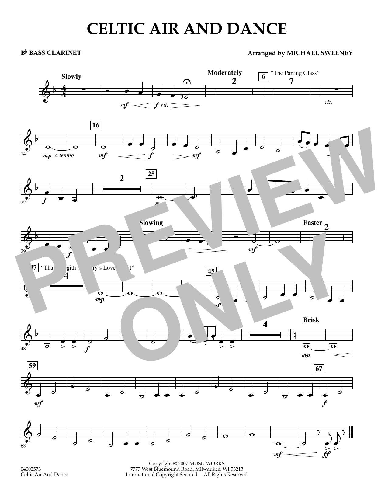 Michael Sweeney Celtic Air and Dance - Bb Bass Clarinet sheet music preview music notes and score for Concert Band including 1 page(s)