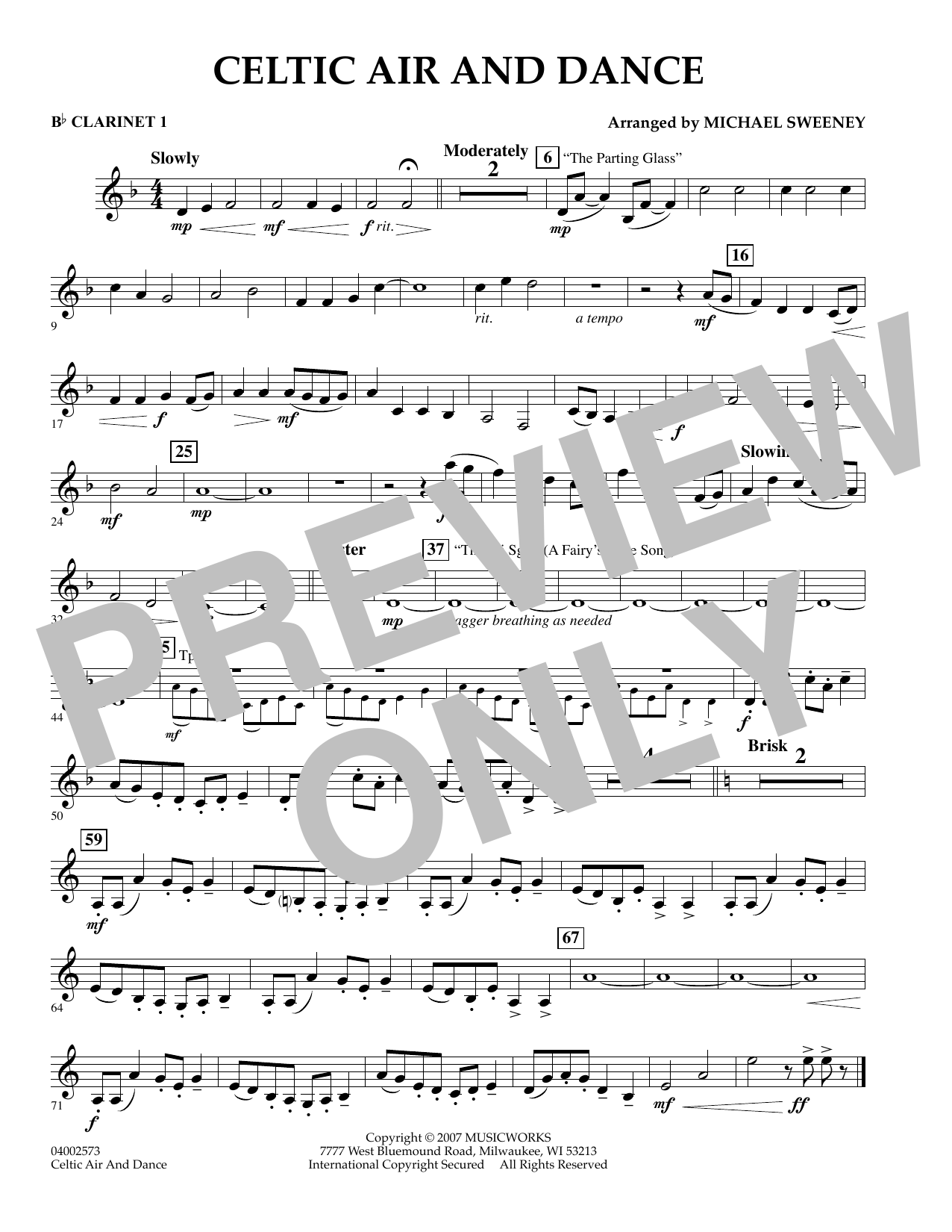 Michael Sweeney Celtic Air and Dance - Bb Clarinet 1 sheet music preview music notes and score for Concert Band including 1 page(s)