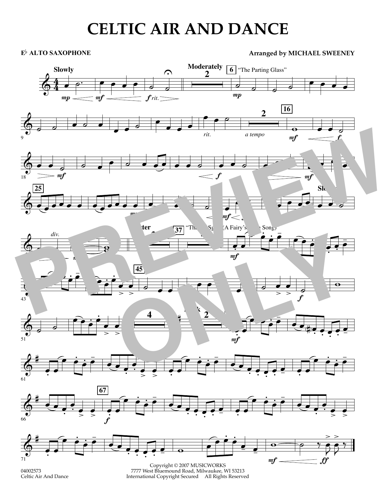 Michael Sweeney Celtic Air and Dance - Eb Alto Saxophone sheet music preview music notes and score for Concert Band including 1 page(s)