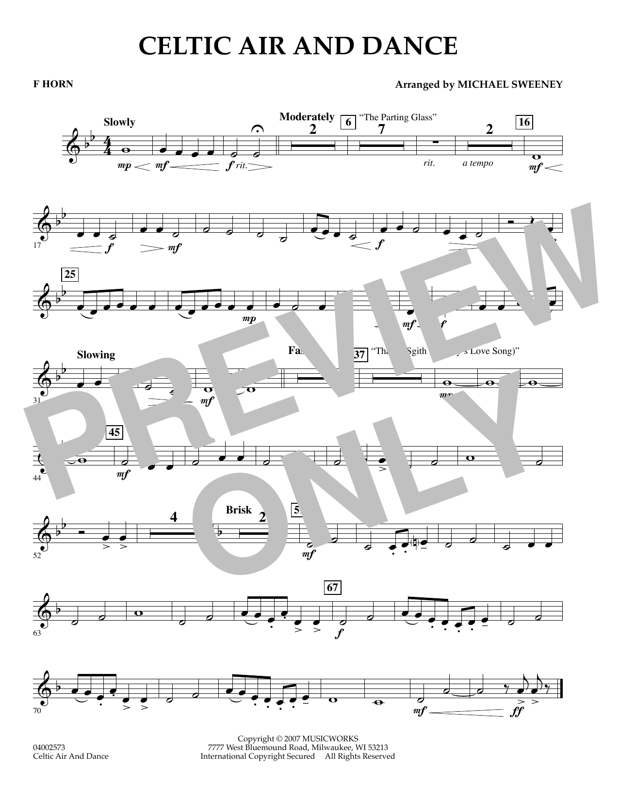 Michael Sweeney Celtic Air and Dance - F Horn sheet music preview music notes and score for Concert Band including 1 page(s)