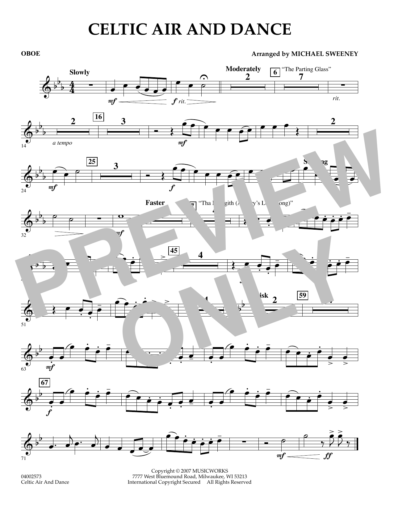 Michael Sweeney Celtic Air and Dance - Oboe sheet music preview music notes and score for Concert Band including 1 page(s)