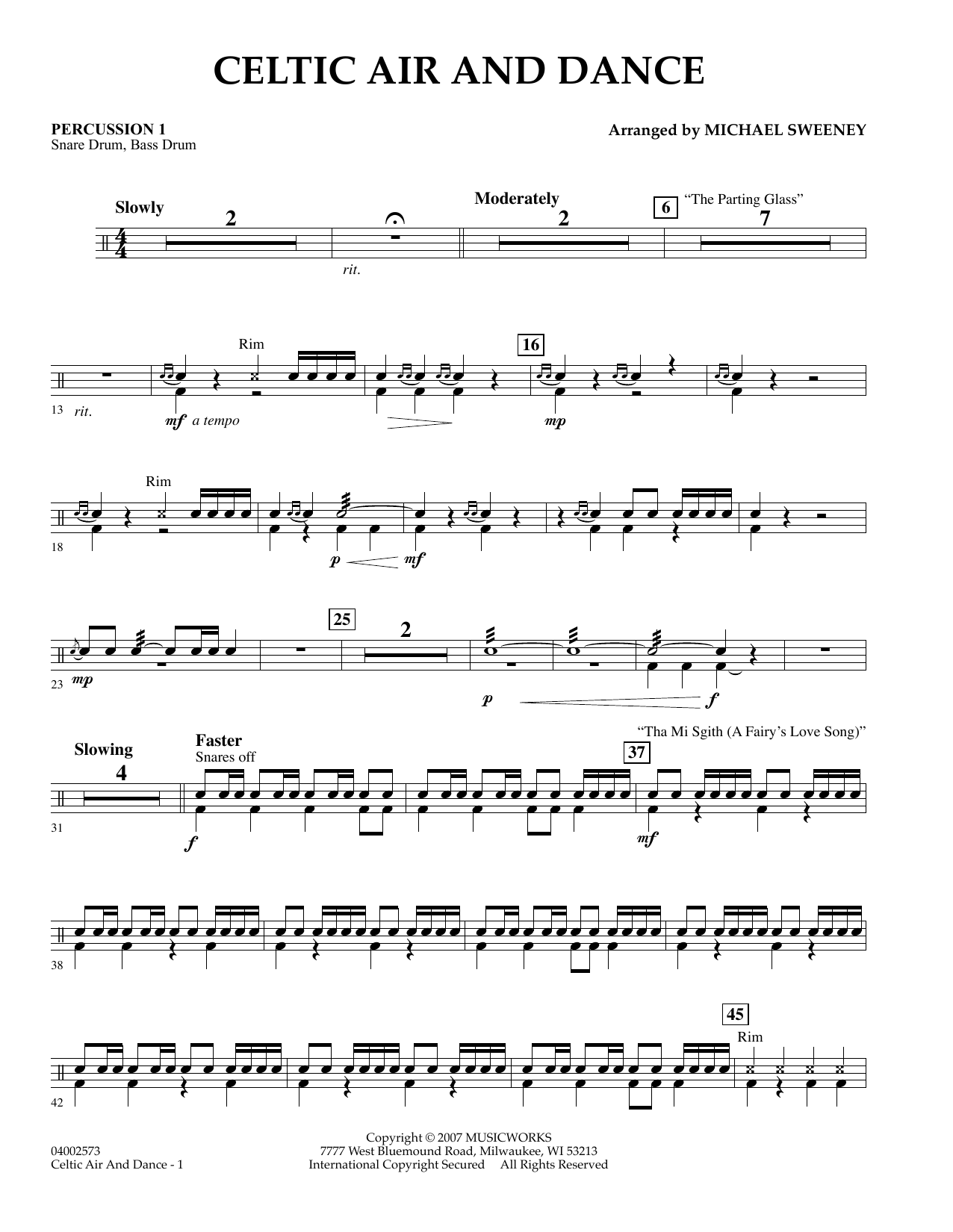 Michael Sweeney Celtic Air and Dance - Percussion 1 sheet music preview music notes and score for Concert Band including 2 page(s)