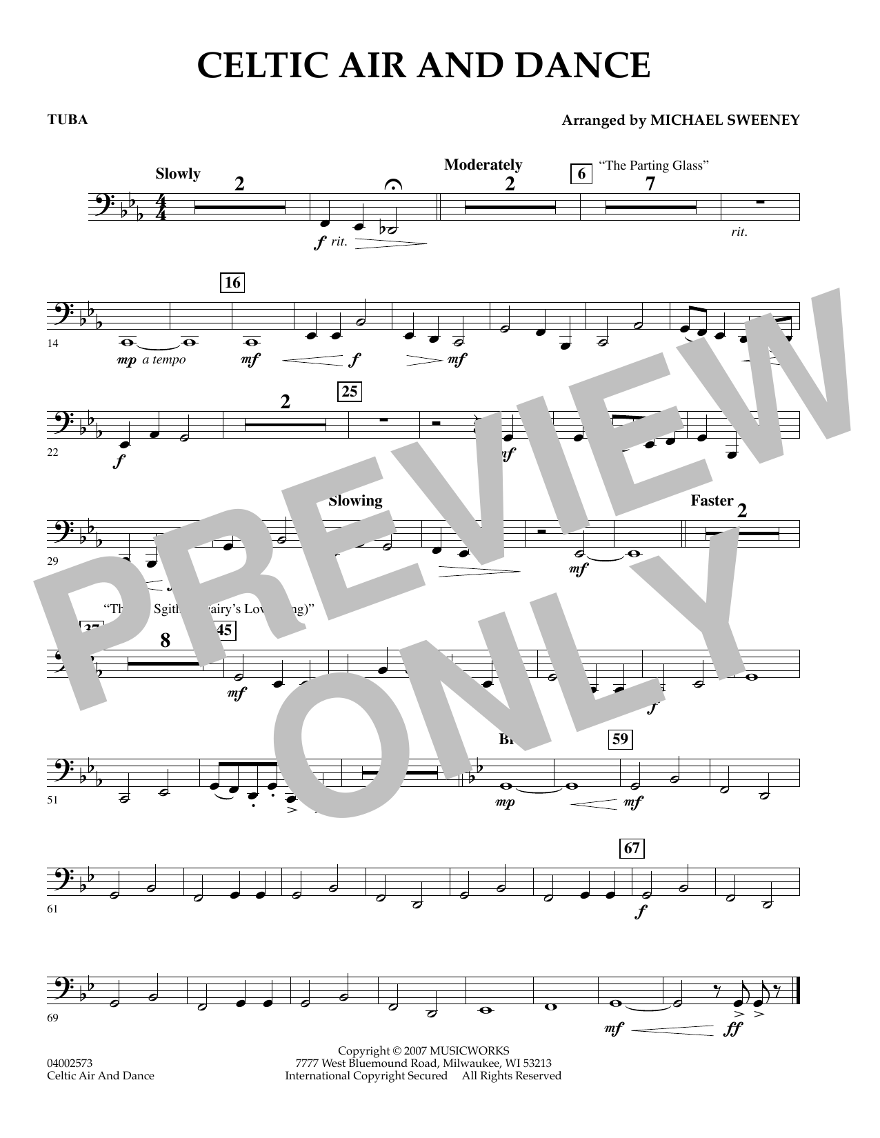 Michael Sweeney Celtic Air and Dance - Tuba sheet music preview music notes and score for Concert Band including 1 page(s)