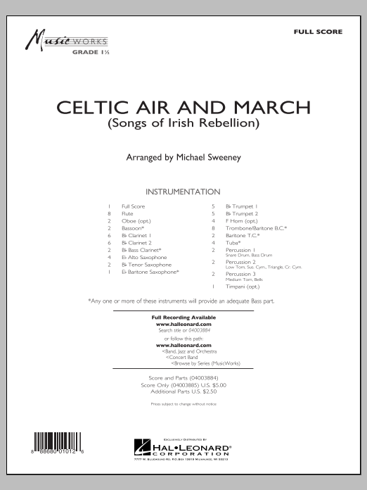 Download Michael Sweeney 'Celtic Air and March (Songs of Irish Rebellion) - Conductor Score (Full Score)' Digital Sheet Music Notes & Chords and start playing in minutes