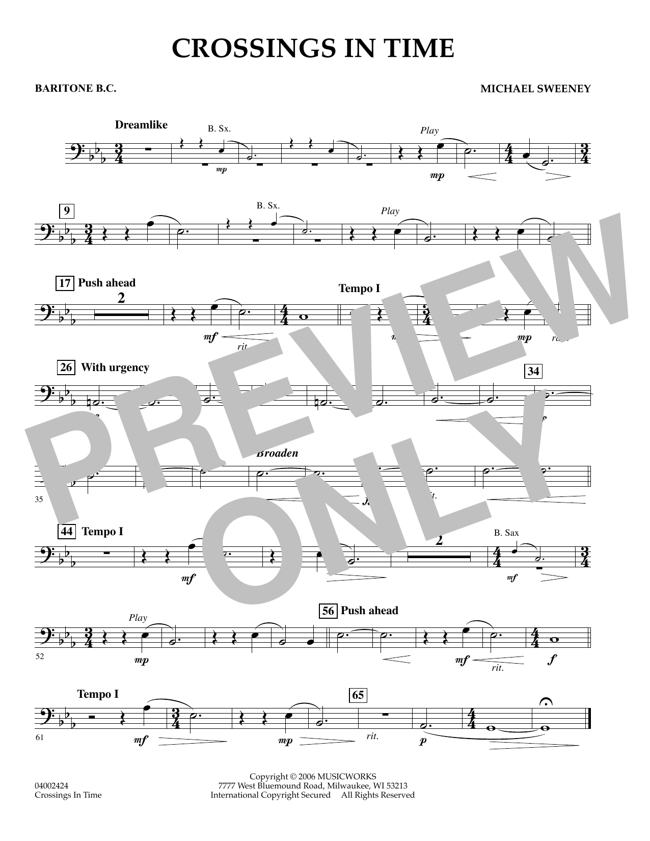 Michael Sweeney Crossings In Time - Baritone B.C. sheet music preview music notes and score for Concert Band including 1 page(s)
