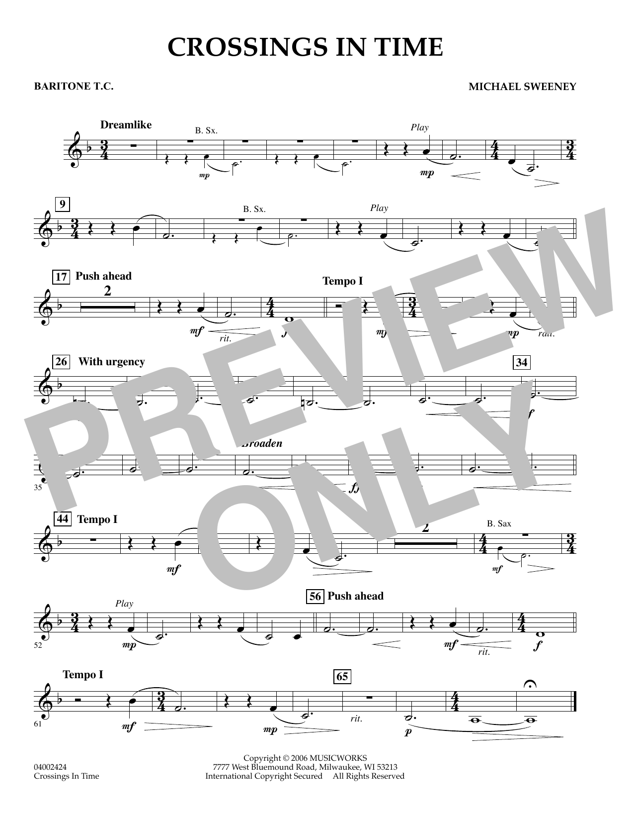 Michael Sweeney Crossings In Time - Baritone T.C. sheet music preview music notes and score for Concert Band including 1 page(s)