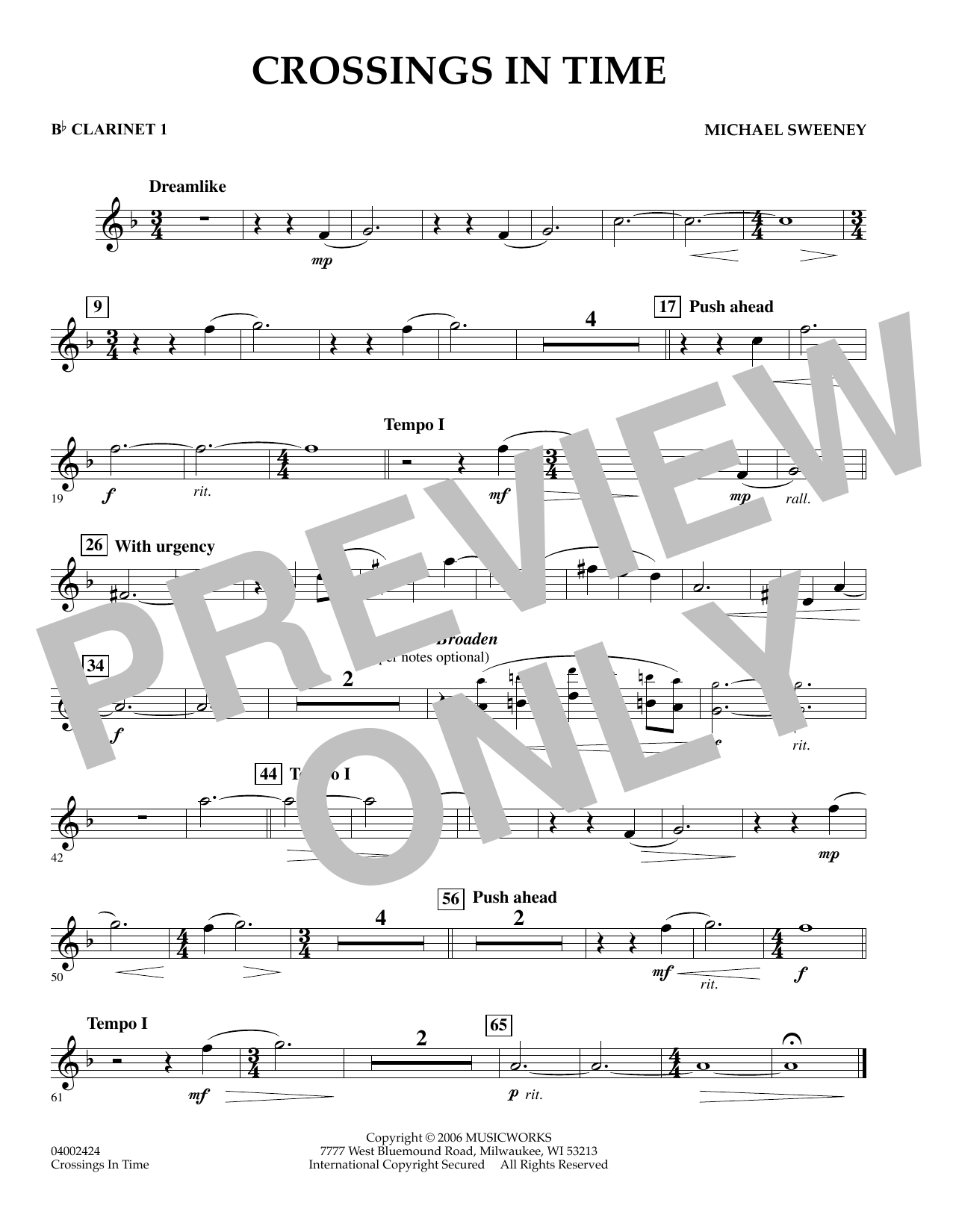 Michael Sweeney Crossings In Time - Bb Clarinet 1 sheet music preview music notes and score for Concert Band including 1 page(s)