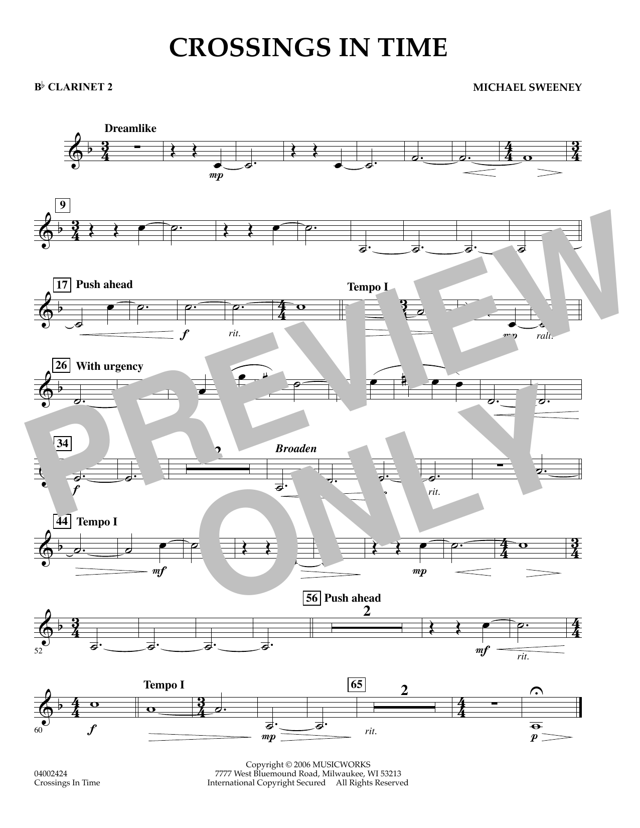 Michael Sweeney Crossings In Time - Bb Clarinet 2 sheet music preview music notes and score for Concert Band including 1 page(s)