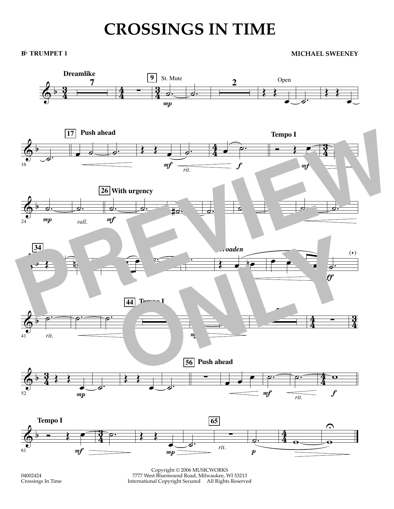 Michael Sweeney Crossings In Time - Bb Trumpet 1 sheet music preview music notes and score for Concert Band including 1 page(s)
