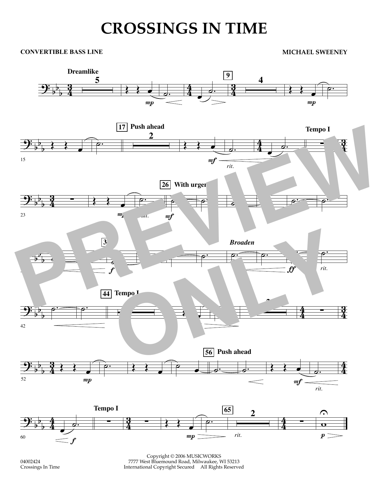 Michael Sweeney Crossings In Time - Convertible Bass Line sheet music preview music notes and score for Concert Band including 1 page(s)