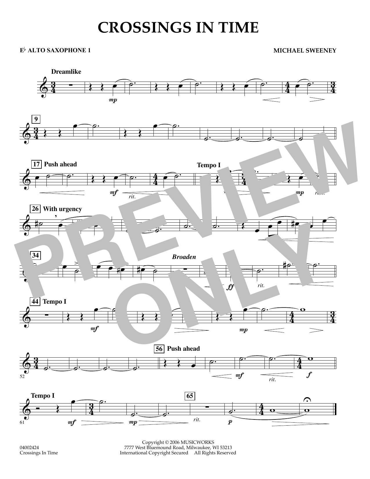 Michael Sweeney Crossings In Time - Eb Alto Saxophone 1 sheet music preview music notes and score for Concert Band including 1 page(s)