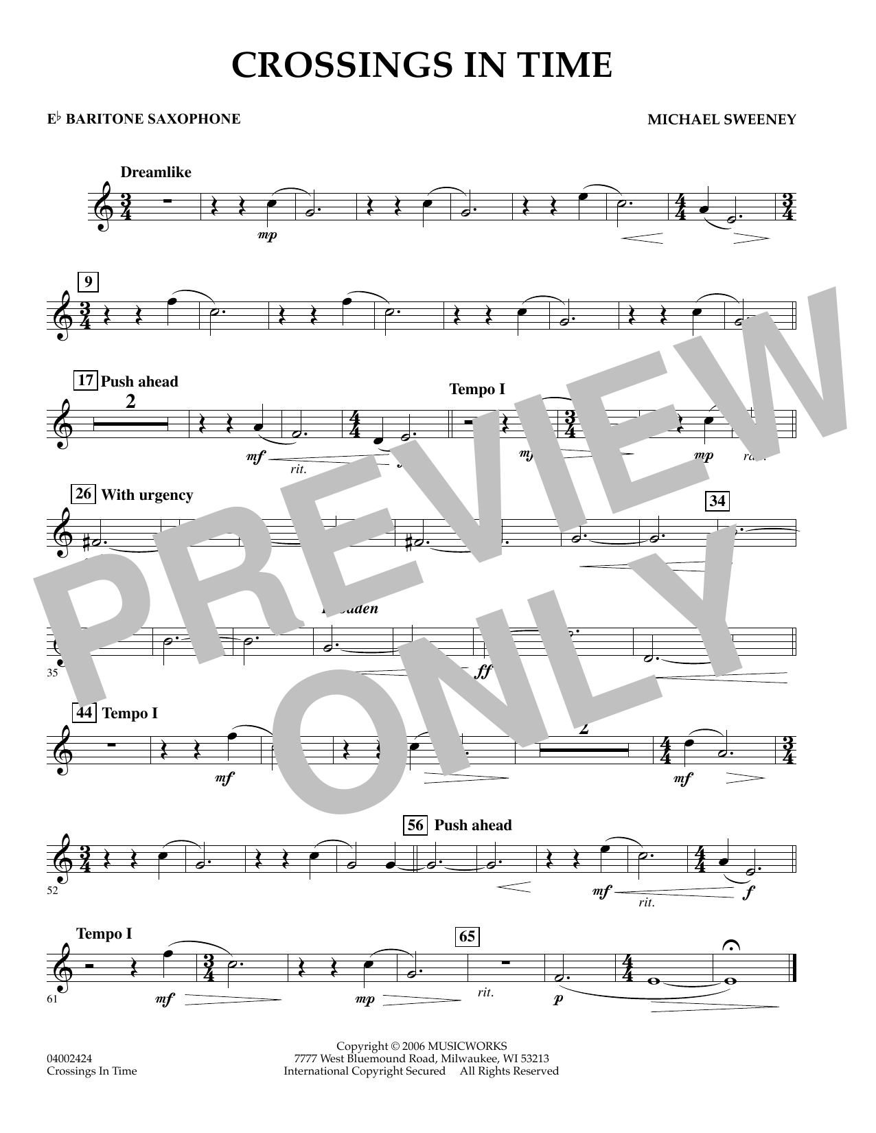 Michael Sweeney Crossings In Time - Eb Baritone Saxophone sheet music preview music notes and score for Concert Band including 1 page(s)