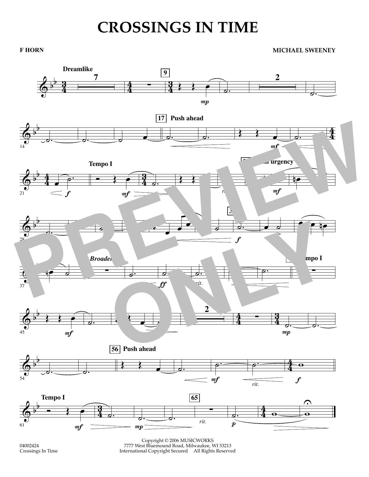 Michael Sweeney Crossings In Time - F Horn sheet music preview music notes and score for Concert Band including 1 page(s)
