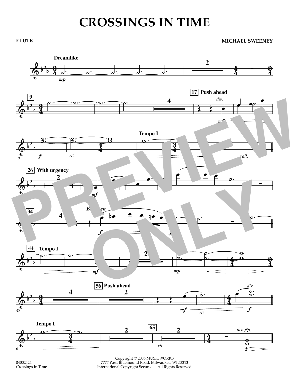 Michael Sweeney Crossings In Time - Flute sheet music preview music notes and score for Concert Band including 1 page(s)