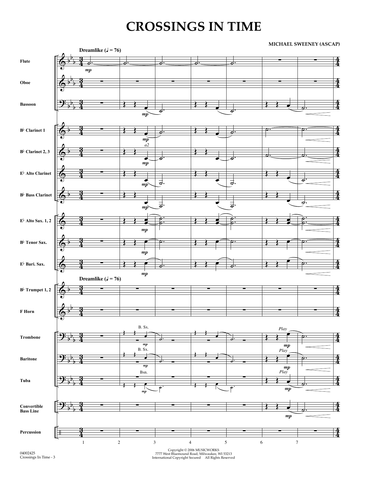 Michael Sweeney Crossings In Time - Full Score sheet music preview music notes and score for Concert Band including 10 page(s)