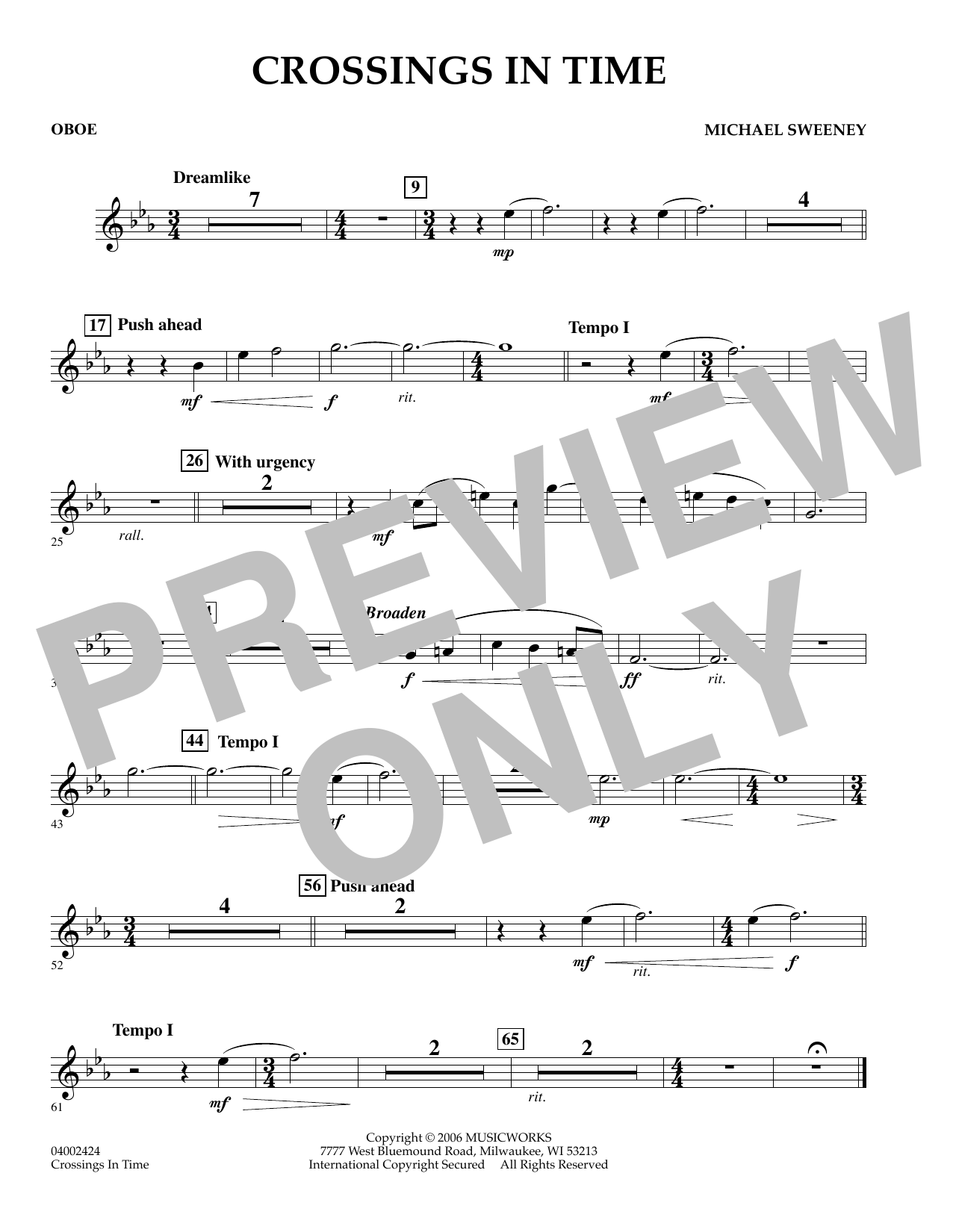 Michael Sweeney Crossings In Time - Oboe sheet music preview music notes and score for Concert Band including 1 page(s)
