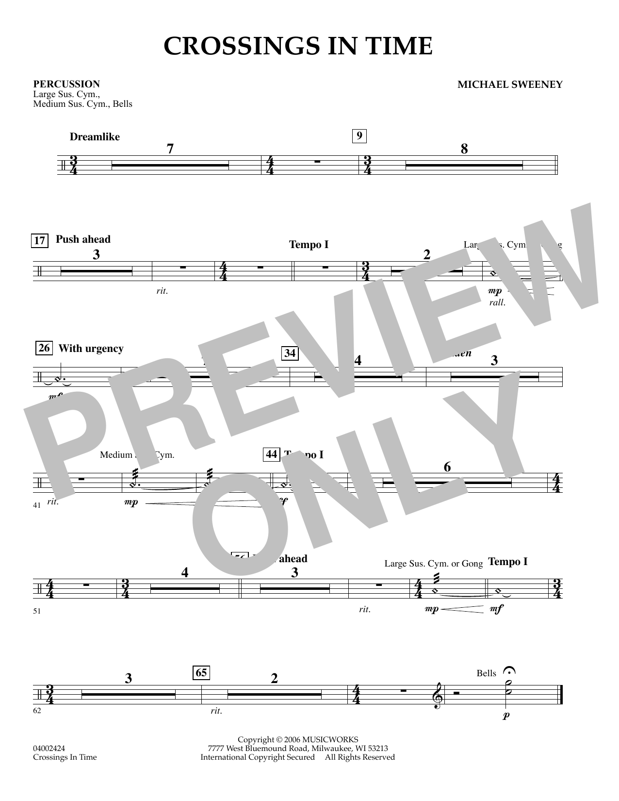 Michael Sweeney Crossings In Time - Percussion sheet music preview music notes and score for Concert Band including 1 page(s)