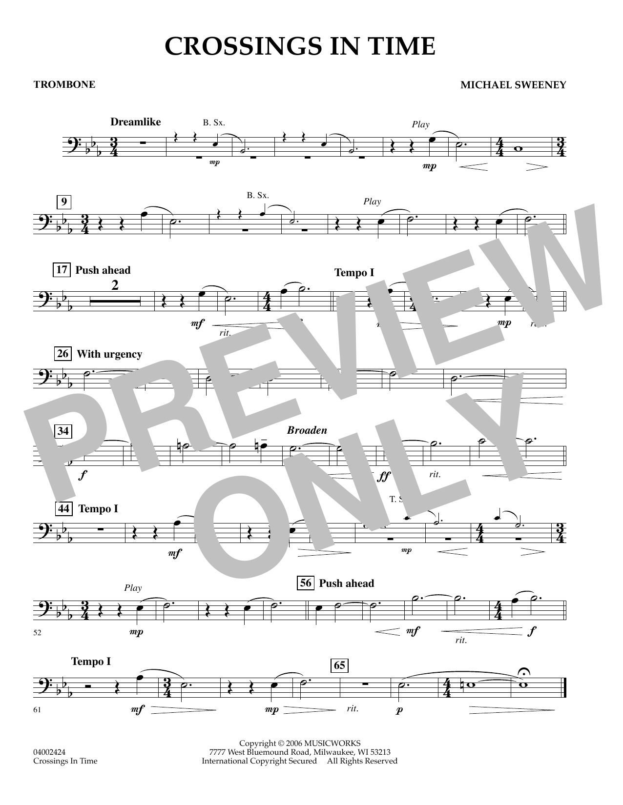 Michael Sweeney Crossings In Time - Trombone sheet music preview music notes and score for Concert Band including 1 page(s)