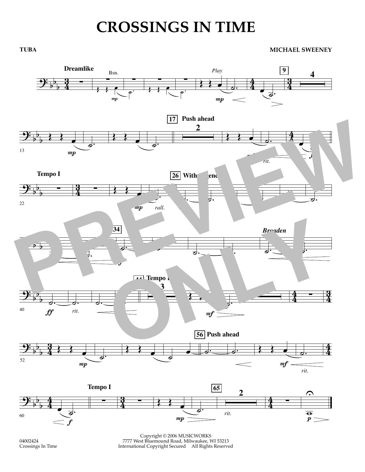 Michael Sweeney Crossings In Time - Tuba sheet music preview music notes and score for Concert Band including 1 page(s)