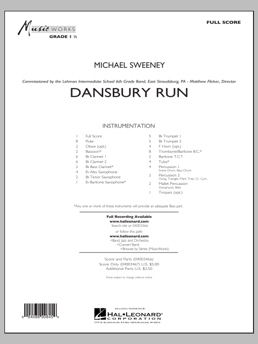 Michael Sweeney Dansbury Run - Conductor Score (Full Score) sheet music notes and chords