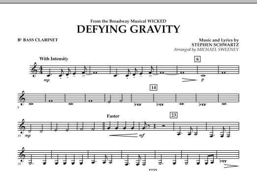 Michael Sweeney Defying Gravity (from Wicked) - Bb Bass Clarinet sheet music preview music notes and score for Concert Band including 1 page(s)