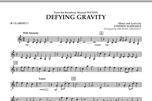 Michael Sweeney Defying Gravity (from Wicked) - Bb Clarinet 1 sheet music preview music notes and score for Concert Band including 1 page(s)