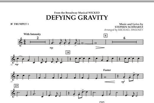 Michael Sweeney Defying Gravity (from Wicked) - Bb Trumpet 1 sheet music preview music notes and score for Concert Band including 1 page(s)