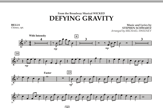Michael Sweeney Defying Gravity (from Wicked) - Bells sheet music preview music notes and score for Concert Band including 1 page(s)