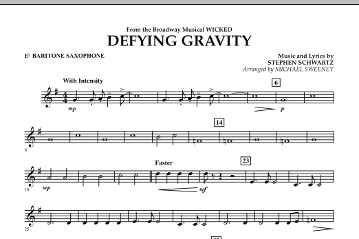 Michael Sweeney Defying Gravity (from Wicked) - Eb Baritone Saxophone sheet music preview music notes and score for Concert Band including 1 page(s)