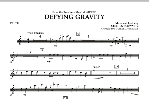 Michael Sweeney Defying Gravity (from Wicked) - Flute sheet music preview music notes and score for Concert Band including 1 page(s)