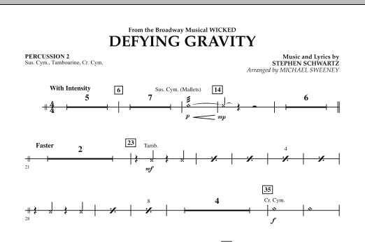 Michael Sweeney Defying Gravity (from Wicked) - Percussion 2 sheet music preview music notes and score for Concert Band including 1 page(s)