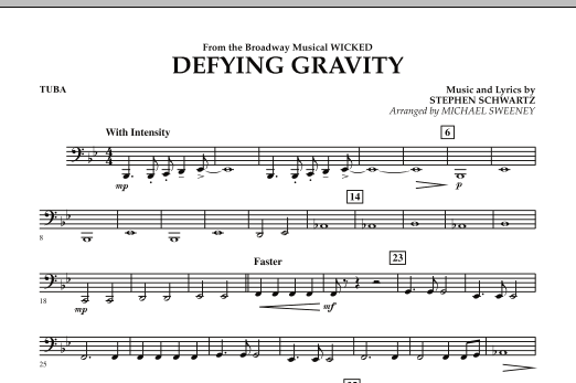 Michael Sweeney Defying Gravity (from Wicked) - Tuba sheet music preview music notes and score for Concert Band including 1 page(s)
