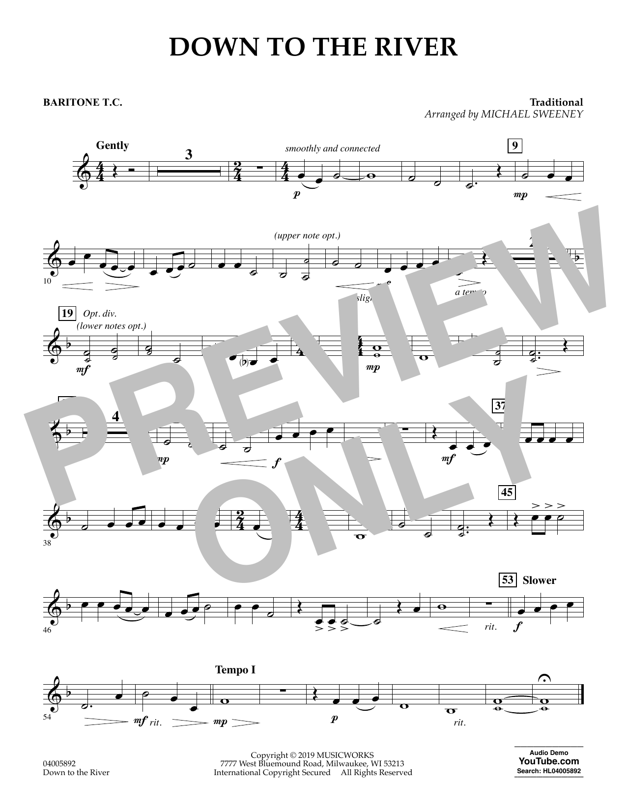 Michael Sweeney Down to the River - Baritone T.C. sheet music preview music notes and score for Concert Band including 1 page(s)
