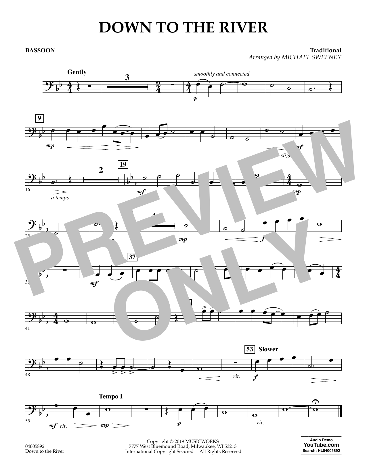 Michael Sweeney Down to the River - Bassoon sheet music preview music notes and score for Concert Band including 1 page(s)