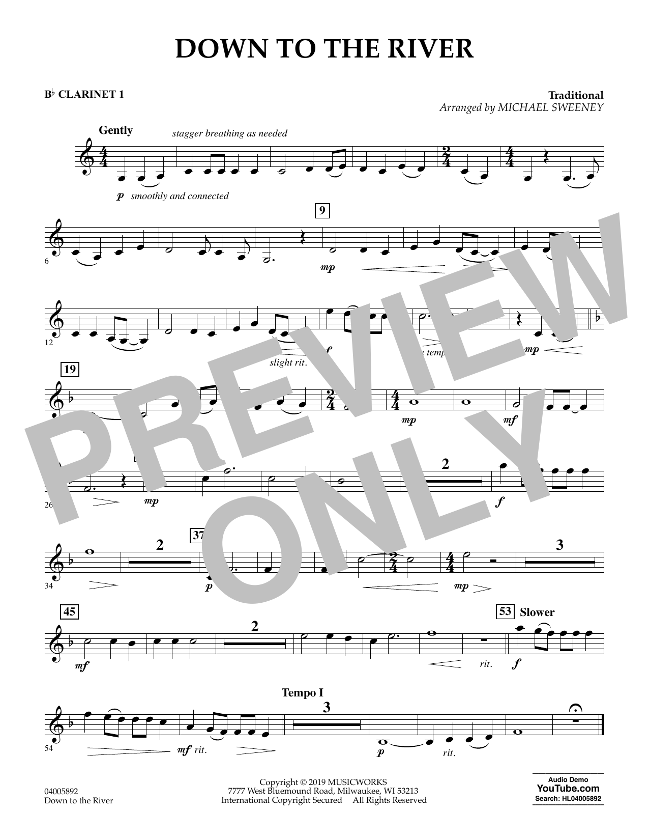 Michael Sweeney Down to the River - Bb Clarinet 1 sheet music preview music notes and score for Concert Band including 1 page(s)