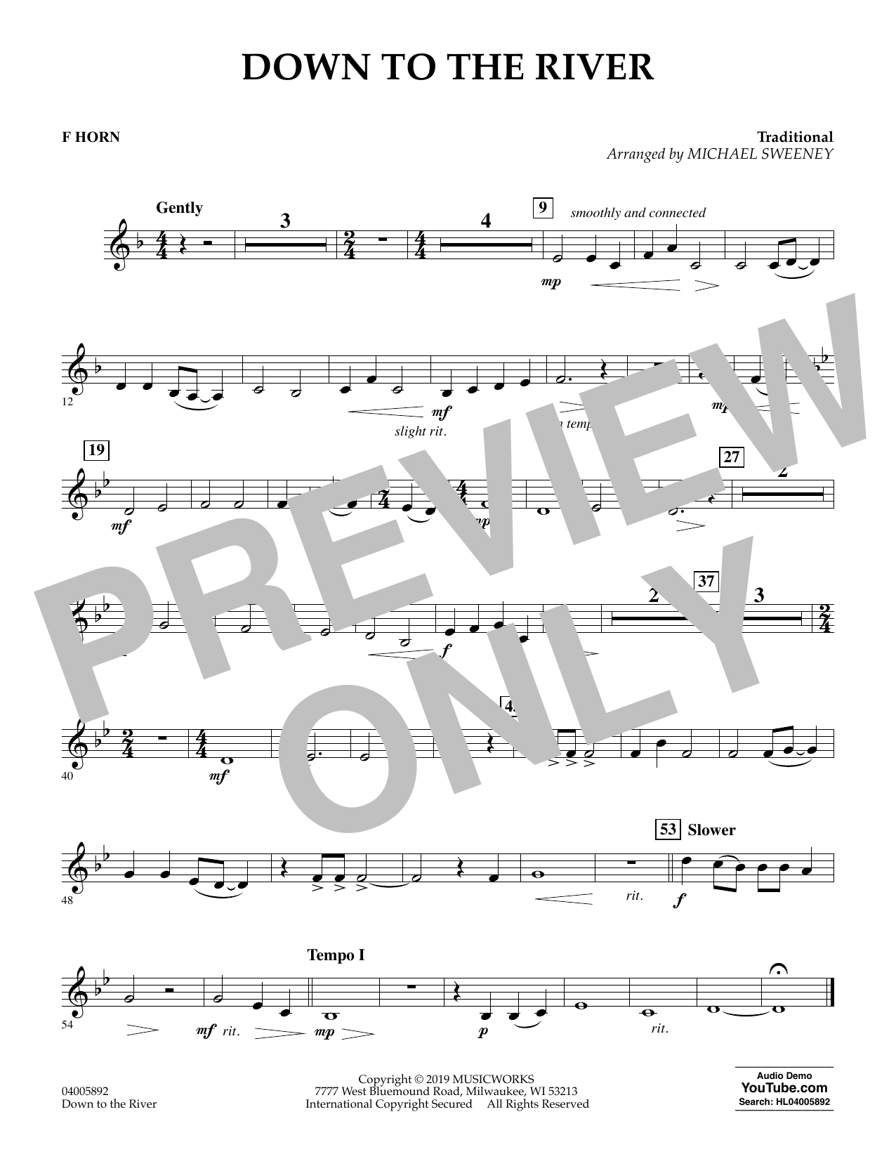 Michael Sweeney Down to the River - F Horn sheet music preview music notes and score for Concert Band including 1 page(s)