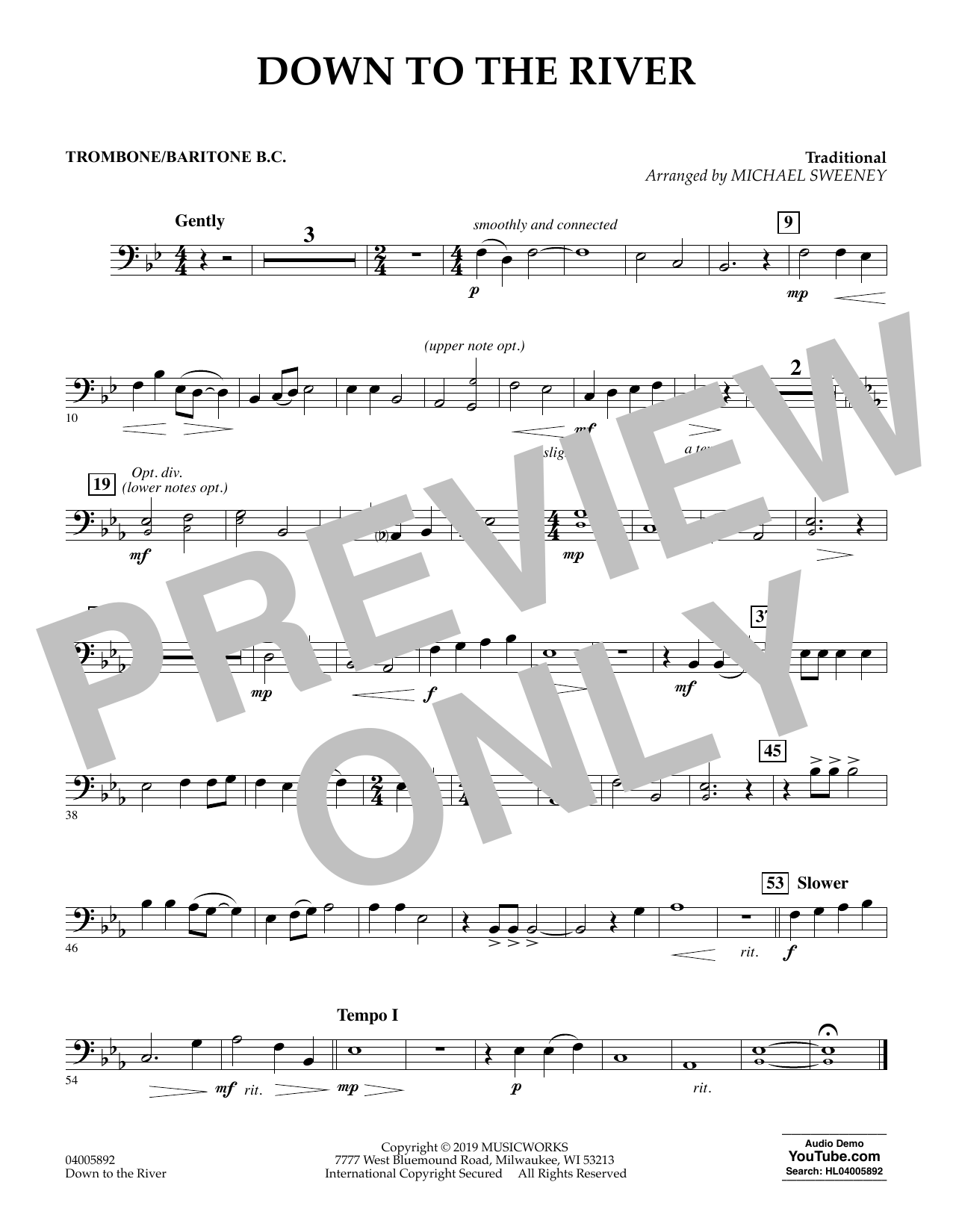 Michael Sweeney Down to the River - Trombone/Baritone B.C. sheet music preview music notes and score for Concert Band including 1 page(s)