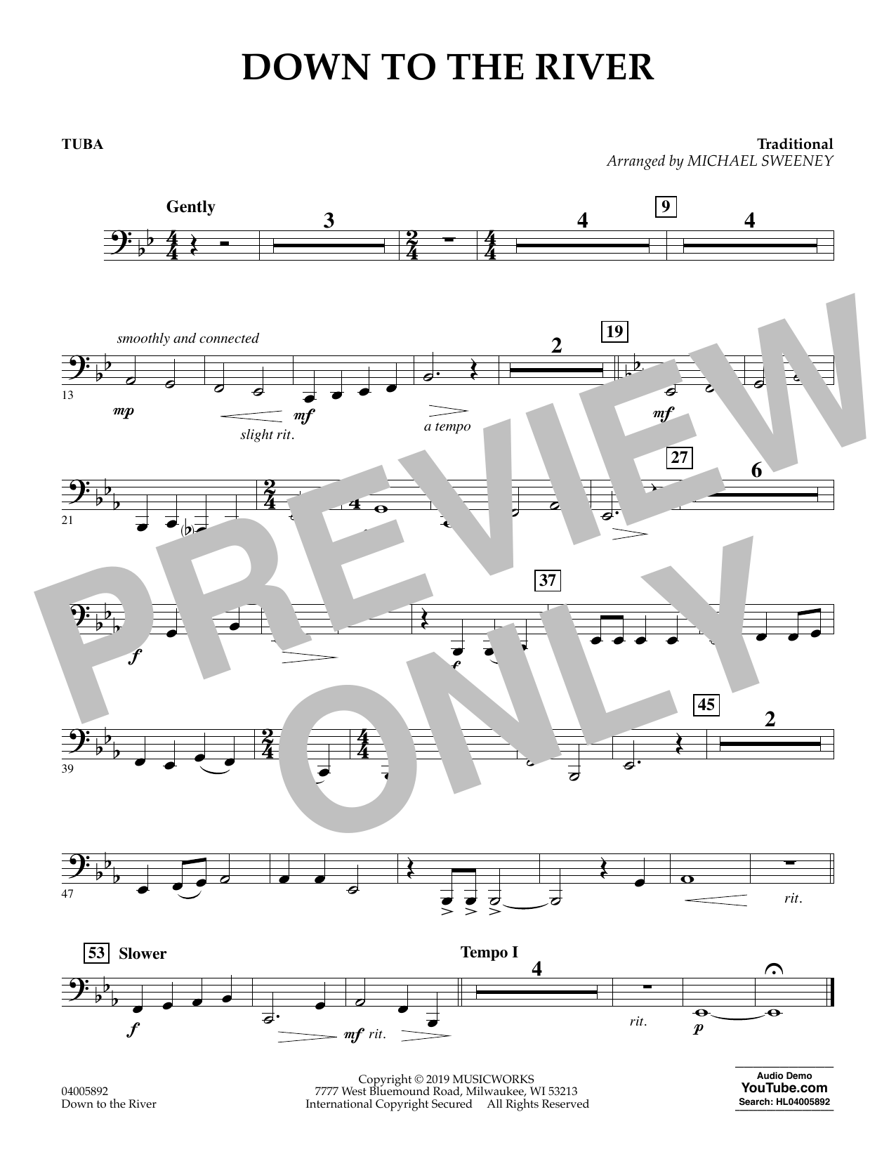 Michael Sweeney Down to the River - Tuba sheet music preview music notes and score for Concert Band including 1 page(s)