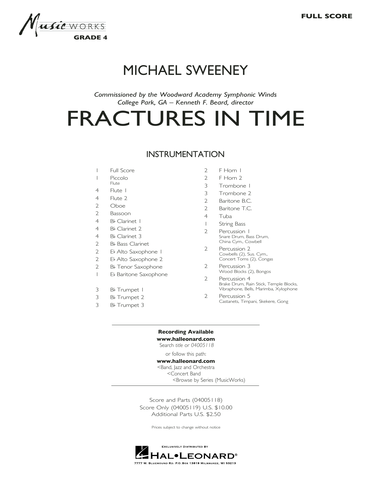 Michael Sweeney Fractures in Time - Conductor Score (Full Score) sheet music preview music notes and score for Concert Band including 28 page(s)