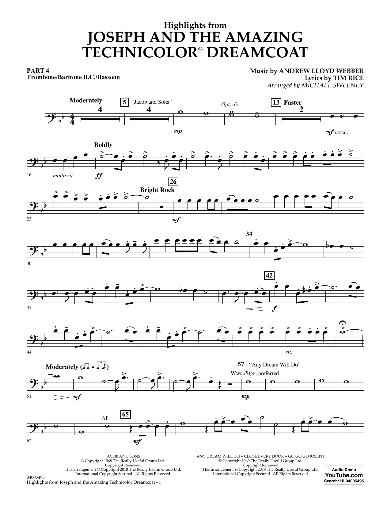 Michael Sweeney Highlights from Joseph and the Amazing Technicolor Dreamcoat - Pt.4 - Trombone/Bar. B.C./Bsn. sheet music preview music notes and score for Concert Band: Flex-Band including 2 page(s)
