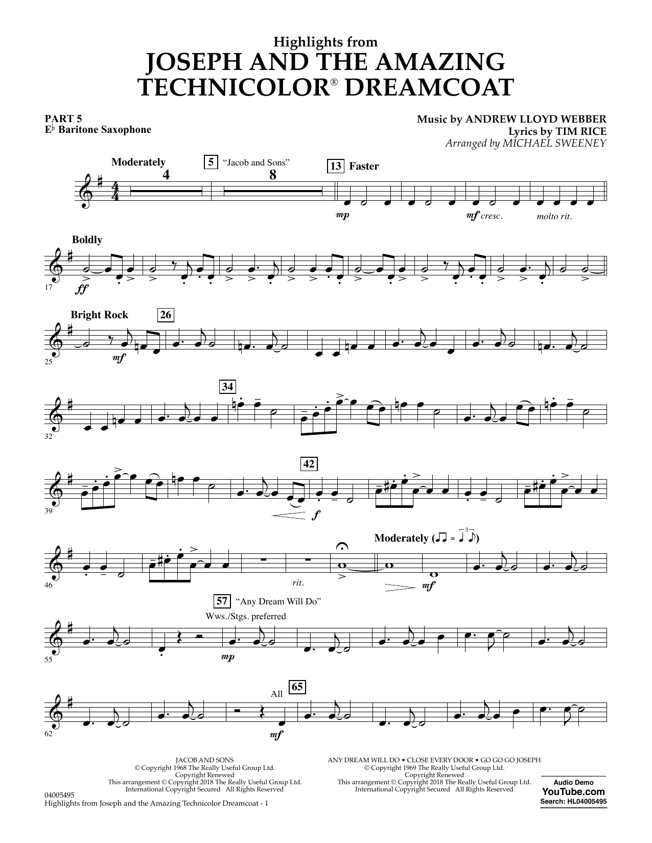 Michael Sweeney Highlights from Joseph and the Amazing Technicolor Dreamcoat - Pt.5 - Eb Baritone Saxophone sheet music preview music notes and score for Concert Band: Flex-Band including 2 page(s)
