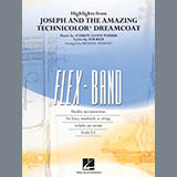 Download Michael Sweeney Highlights from Joseph and the Amazing Technicolor Dreamcoat - Pt.5 - String/Electric Sheet Music arranged for Concert Band: Flex-Band - printable PDF music score including 2 page(s)